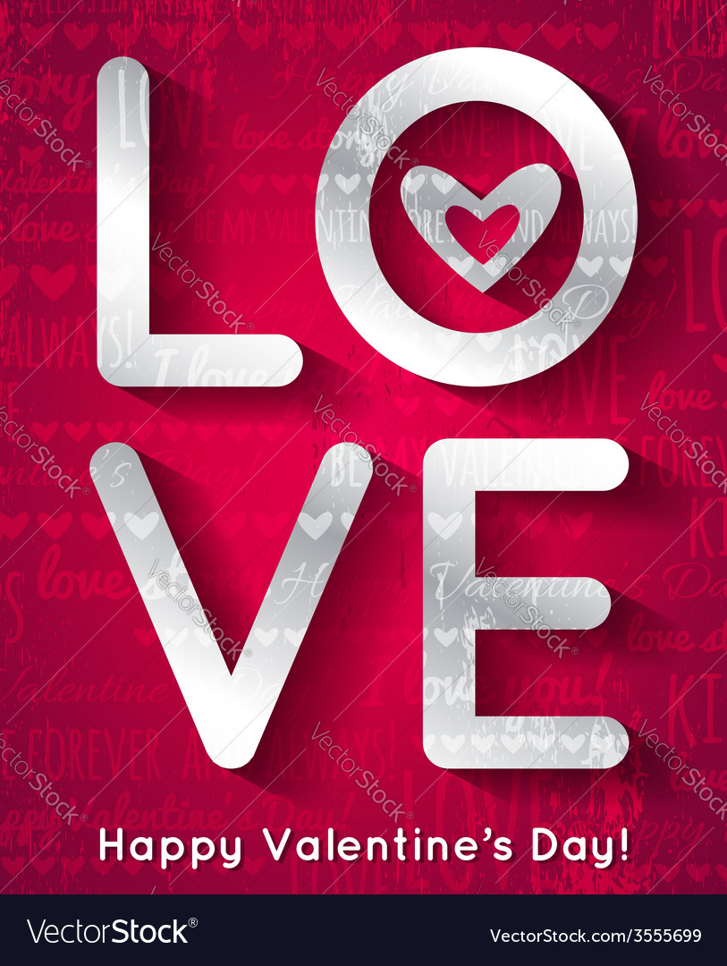 Valentines day greeting card with silver text vector | Price: 1 Credit (USD $1)