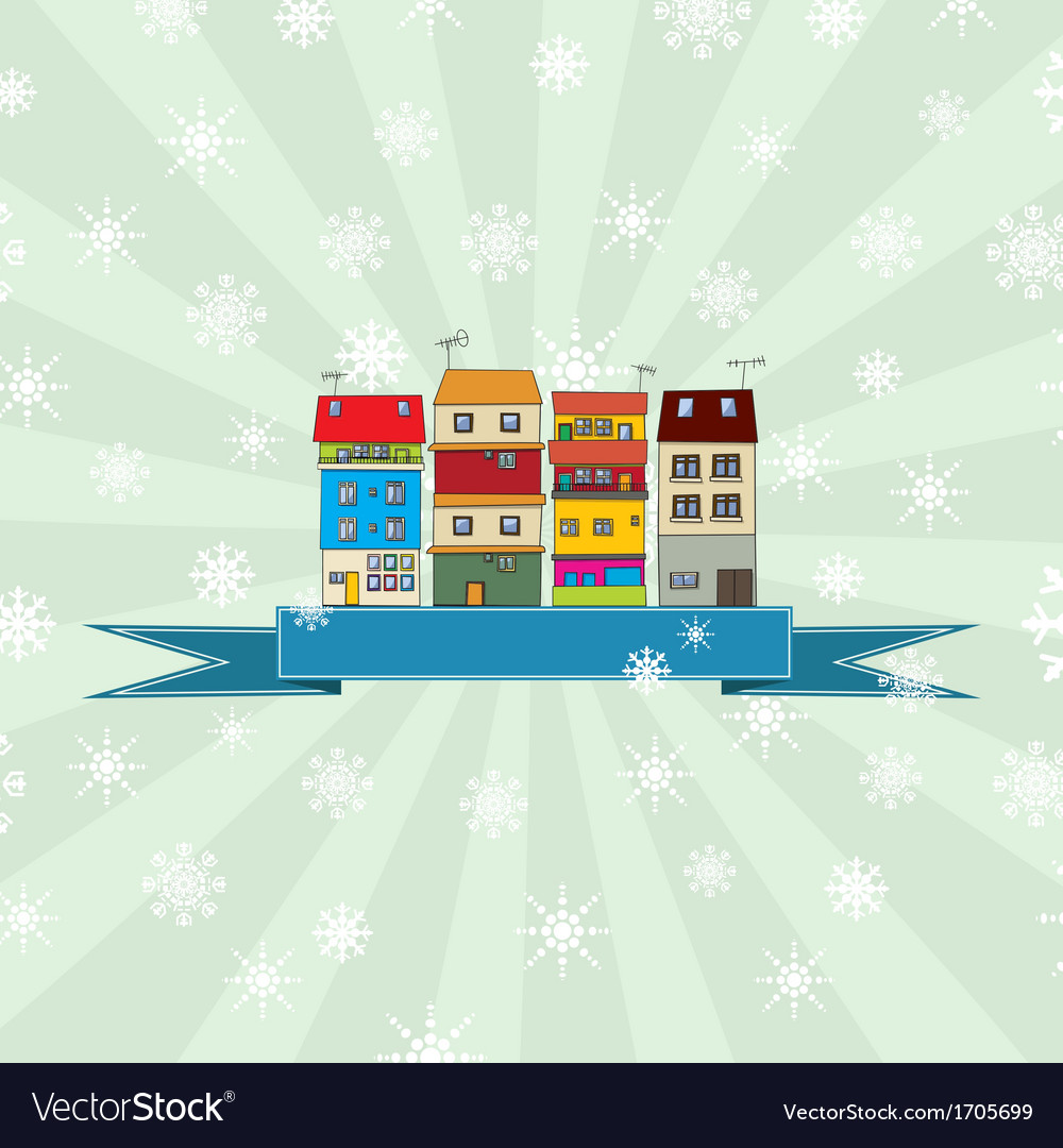 Winter holidays card with houses 3 vector | Price: 1 Credit (USD $1)