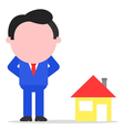 Businessman or realtor beside house vector