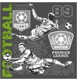 Soccer and football players plus emblems for sport vector