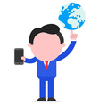 Businessman holding globe and smartphone vector