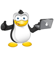 Penguin mascot thumb up - laptop vector