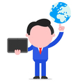 Businessman holding globe and tablet vector