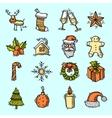 Christmas icons set color vector
