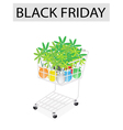 Lovely tree pot in black friday shopping cart vector
