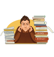 Businessman is under stress with lot of paper work vector
