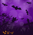 Halloween ominous background with pumpkins bats vector