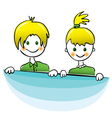 Happy boy and girl with bright yellow hair vector