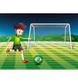A player kicking the ball with the flag of brazil vector