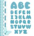Retro scrapbook font blue color vector