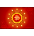 Decorated diwali diya on flower rangoli vector