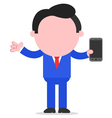 Businessman holding smartphone vector