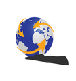 Planet in hand color vector