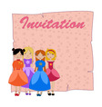 Beautiful invitation with four little girls vector