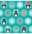 Christmas flat seamless pattern with gifts and vector