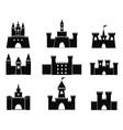Black castle icons vector