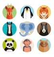 Set of animal icons in round buttons vector