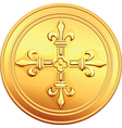 Old french gold coin vector