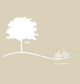 Abstract tree background with bicycle vector