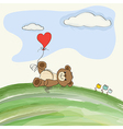 Cute doodle teddy bear with heart on meadow vector