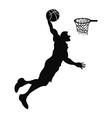 Isolated basketball player slam dunk vector