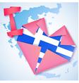 Origami paper i love greece heart card vector