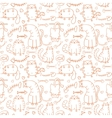 Funny cartoon sketch cats background vector