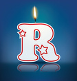 Candle letter r with flame vector