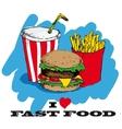 I love fast food card design vector