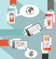 Social media symbols with cell phones in hands vector