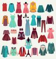 Clothes collection woman wardrobe vector
