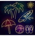 Neon beach icons vector