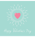 Big pink shining heart flat design valentines day vector