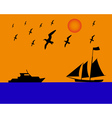 Sailing boat albatrosses to orange blue background vector