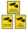Video surveillance camera sign black and yellow vector