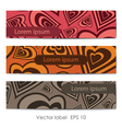 Set of three cards with hearts vector