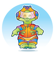 Funny alien wearing space suit vector