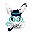 Hipster rabbit vector