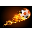 Soccer ball fire on black background vector