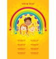 Three happy children in a rainbow and the sun vector
