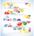Banners headers colorful flowers background vector
