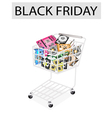 Set of hardware computer in black friday shopping vector