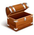 Old empty vintage wooden trunk vector