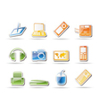 Simple hi-tech technical equipment icons vector