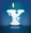 Candle letter y with flame vector
