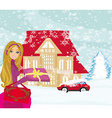Christmas shopping on a snowy day vector