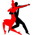 Silhouettes of a couple dancing argentine tango vector