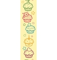 Colorful muffins vertical seamless pattern vector
