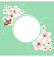 Card with cherry flowers vector