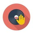 Vinyl disc whit hand vector